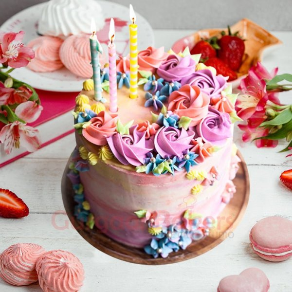 birthday cake with colorful flowers