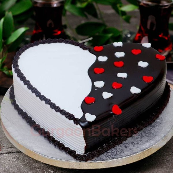 black and white love cake