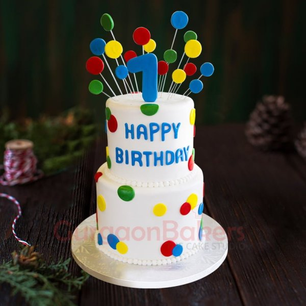 colourful polka dots cake
