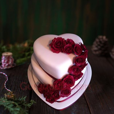 heart of hearts simple wedding cake
