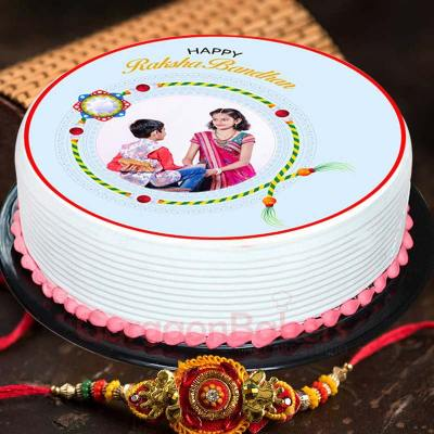 pretty photo cake for rakhi