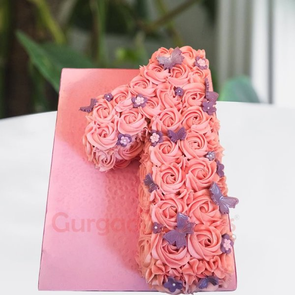 roses and butterflies number one cake