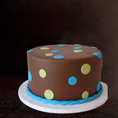 yellow and blue dots birthday cake