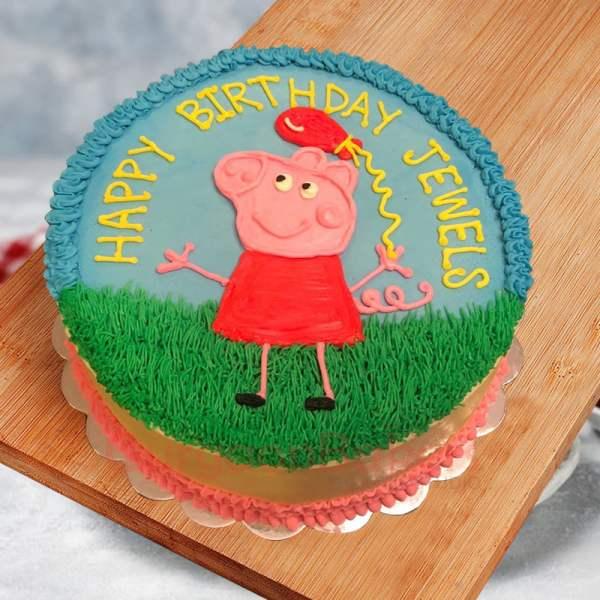 colourful peppa balloon cake