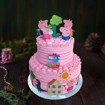 peppa and family 2 tier cake