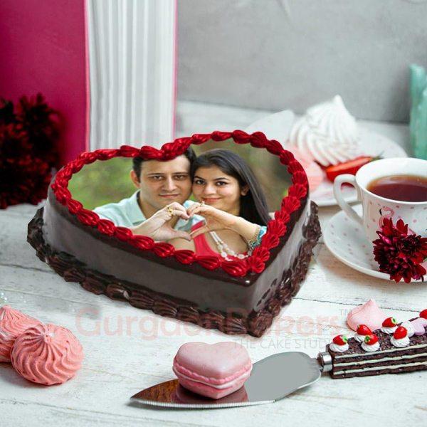 Printed Heart Photo Cake