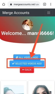 selected videos add button