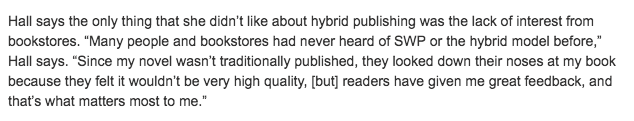 she writes press reviews Hybrid Publisher