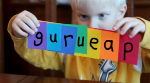 kid with cards - spelling