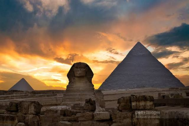 The site of the Giza pyramids in Egypt
