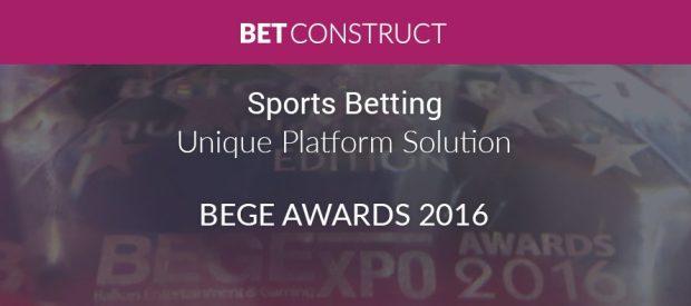BetConstruct Wins Sports Betting Unique Platform Solution award at BEGE 2016