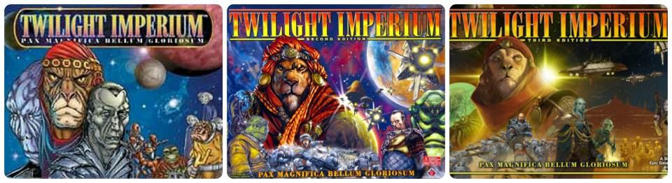 Les 3 éditions de Twilight Imperium, 1997, 2000 et 2005