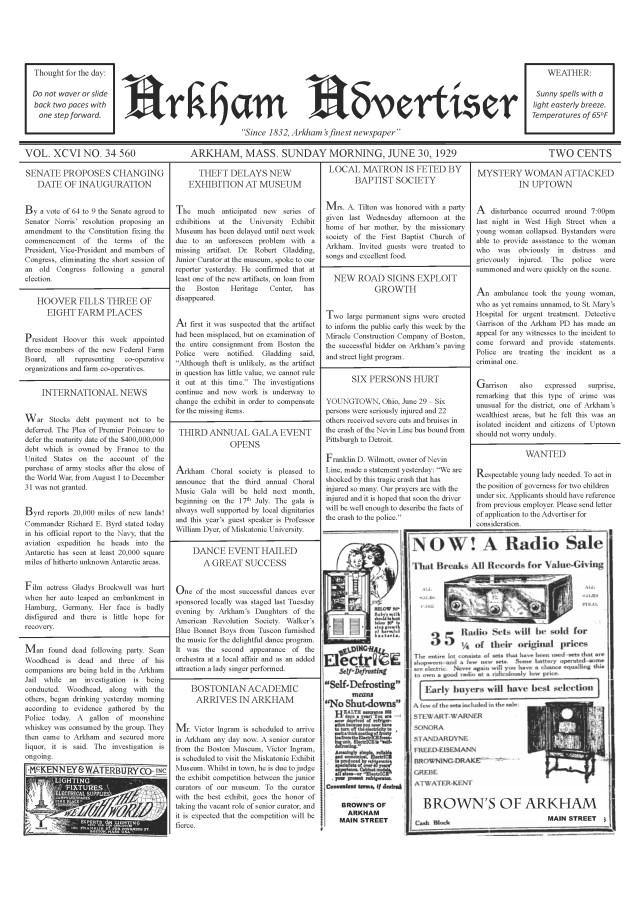 Pages de Arkham Advertiser 30th June 1929 v2b