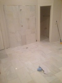 Fancy marble tile in the master bath!