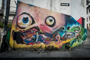 Mural by ? around Fine Arts schoo, Downtown Manizales © Gus Morainslie
