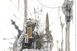 """""""Recuperación de la Milan Biblioteca milenaria"""" (detalle), de """"Dos cartas"""". Textos de Milan Kundera y Fernando Arrabal, imágenes de Gustavo Charif."""