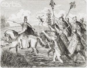 Julius Caesar crossing the Rubicon riding on Genitor