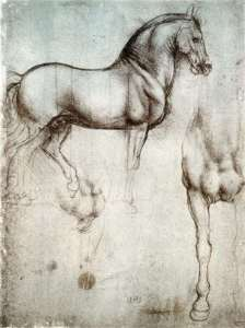 Sketches on the horse of Sforza. Author Leonardo da Vinci