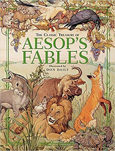 Aesop Fables with a draw of a mule on the cover