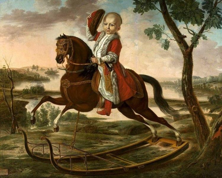 Stanislas Potocki on rocking horse - 1798