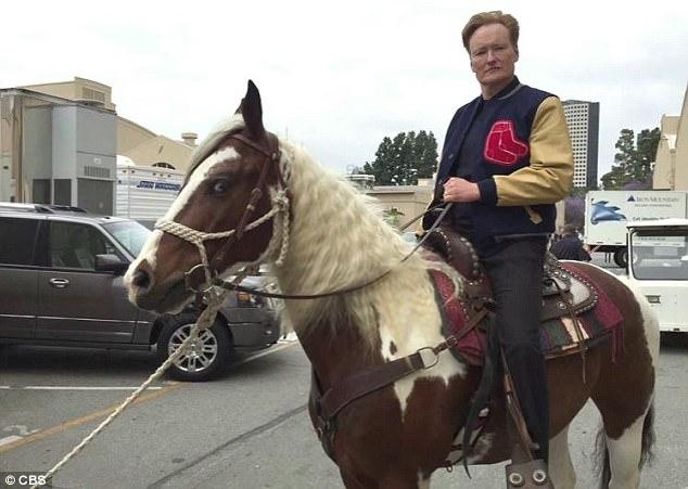 "Conan O'Brien ridding ""Dave"", The Davi Letterman gift horse"