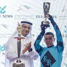 Venezuelan rider Emisael Jaramillo receiving the award in Dubai