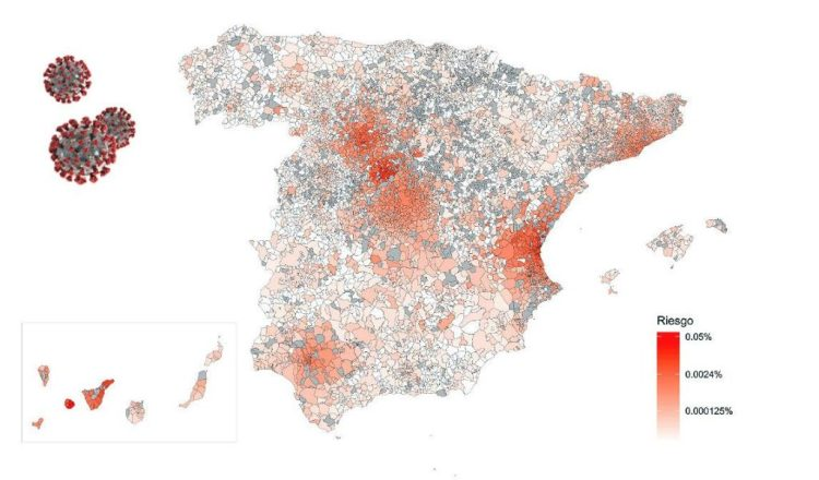 Map of risk of coronavirus contagion in Spain