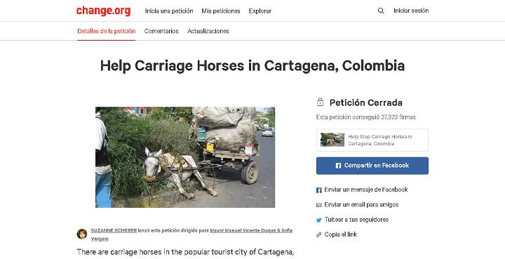 Petición en change.org para prohibir los caballos cocheros en Cartagena
