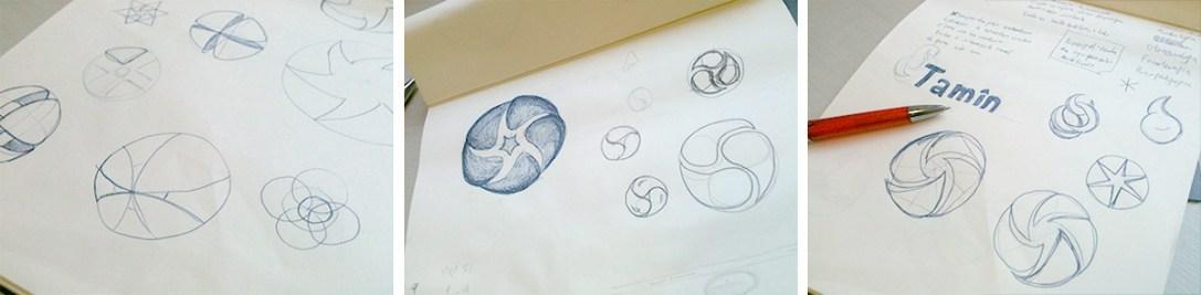 Esboços iniciais no papel.