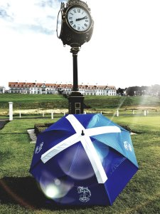 GustBuster windproof golf umbrella with Saltire print