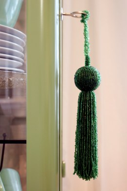 Green Beaded Tassel on Mint Curio