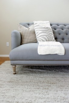 Amthropologie Linen Orianna Tufted Sofa