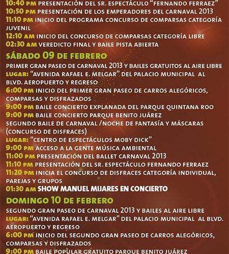 Conoce Programa del Carnaval Cozumel 2013 del 6 al 13 de Febrero