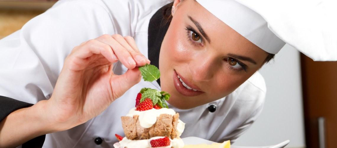chef decorating dessert