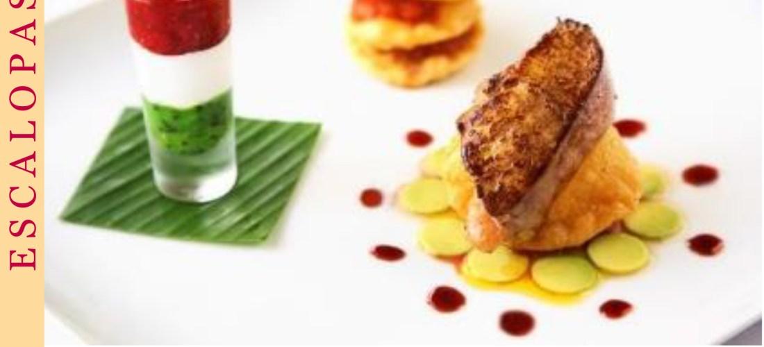 Receta @RougieAmerica Escalopas de Foie Gras con Mermeladas de frutos rojos y chico zapote, Margarita de aguacate y Buñuelos de naranja