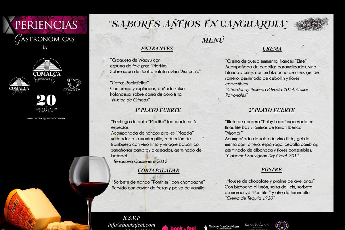 """Menú cena maridaje #XperienciasGastronomicas by @Comalca Gourmet """"Sabores Añejos en Vanguardia"""" @SkylightsRestaurant @CasaRolandi"""