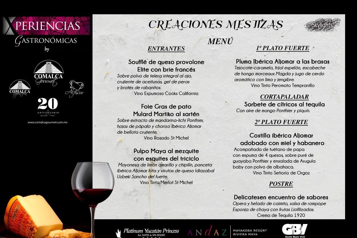 """Menú Cena Maridaje #XperienciasGastronomicas by @comalcagourmet """"Creaciones Mestizas"""" @SkylightsRestaurant #PlatinumYucatanPrincess"""