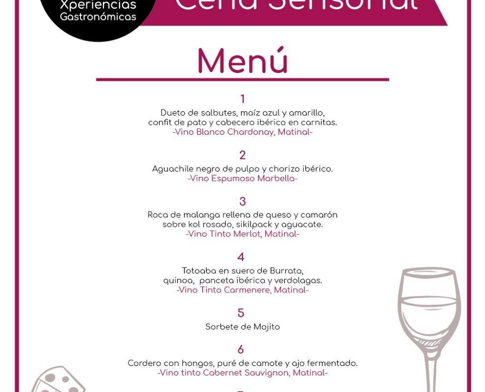Menú Cena Maridaje Sensorial, Chef Agustín Puc y Daniel Manzano