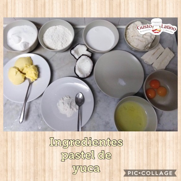 Ingredientes pastel yuca
