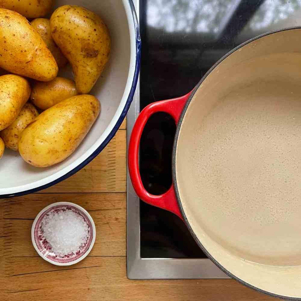 Kartoffeln in Salzwasser kochen.