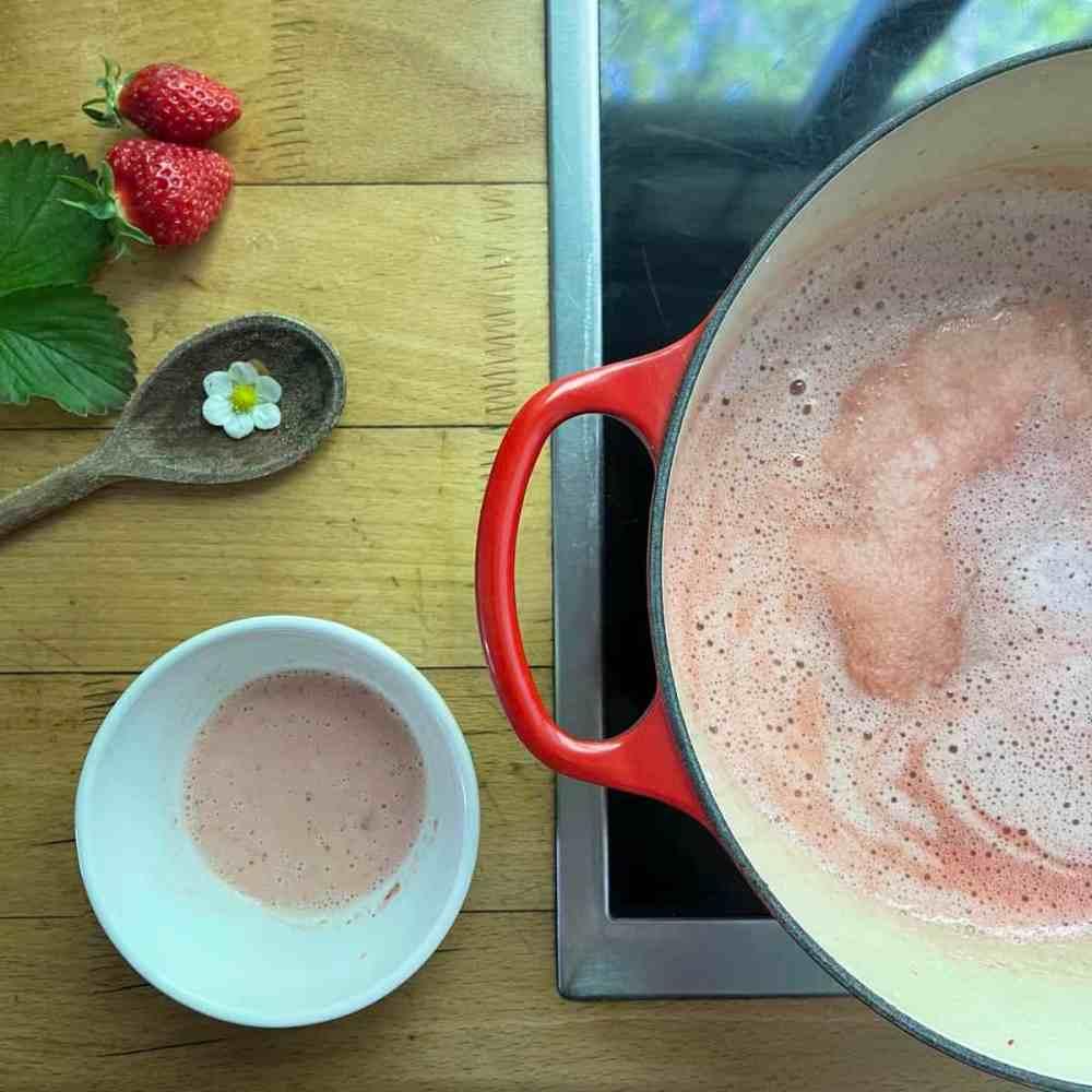 Die Kaltschale kurz zum kochen bringen. Die angerührte Speisestärke mit einem Schneebesen darunter rühren.