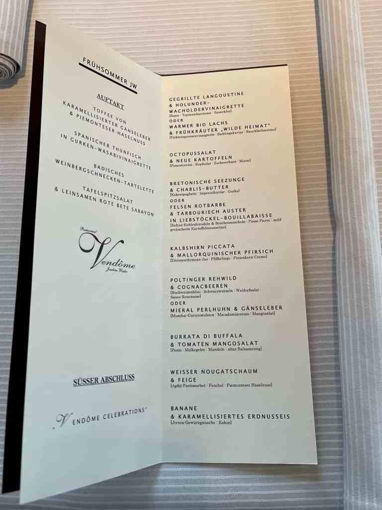 Das Frühsommer Menü. Gourmet Restaurant Vendôme