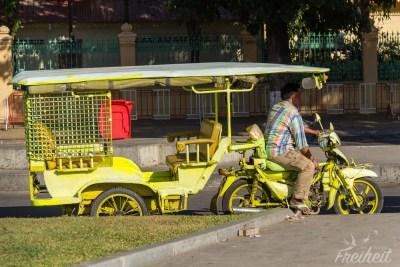 Limonengrün und mit Schutzgitter gegen Taschendiebe auf Motorrädern