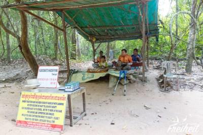 Landminenopfer, die traditionelle Musik spielen