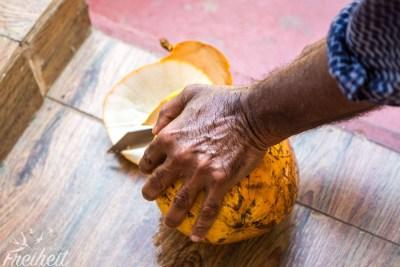 Unser Gastgeber Sumith schneidet eine King Coconut an