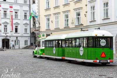 Bimmelbahn in der Altstadt von Ljubljana