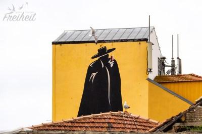 Das Logo von Portos bekanntestem Portwein: Sandeman