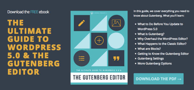 Graphic: Screenshot of WordPress 5.0 + Gutenberg Editor PDF eBook.