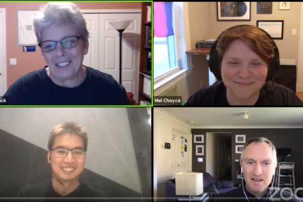 Brady-Bunch View of Panel: Mel Choyce, Alex Shiels, CK Lee and host Birgit Pauli-Haack