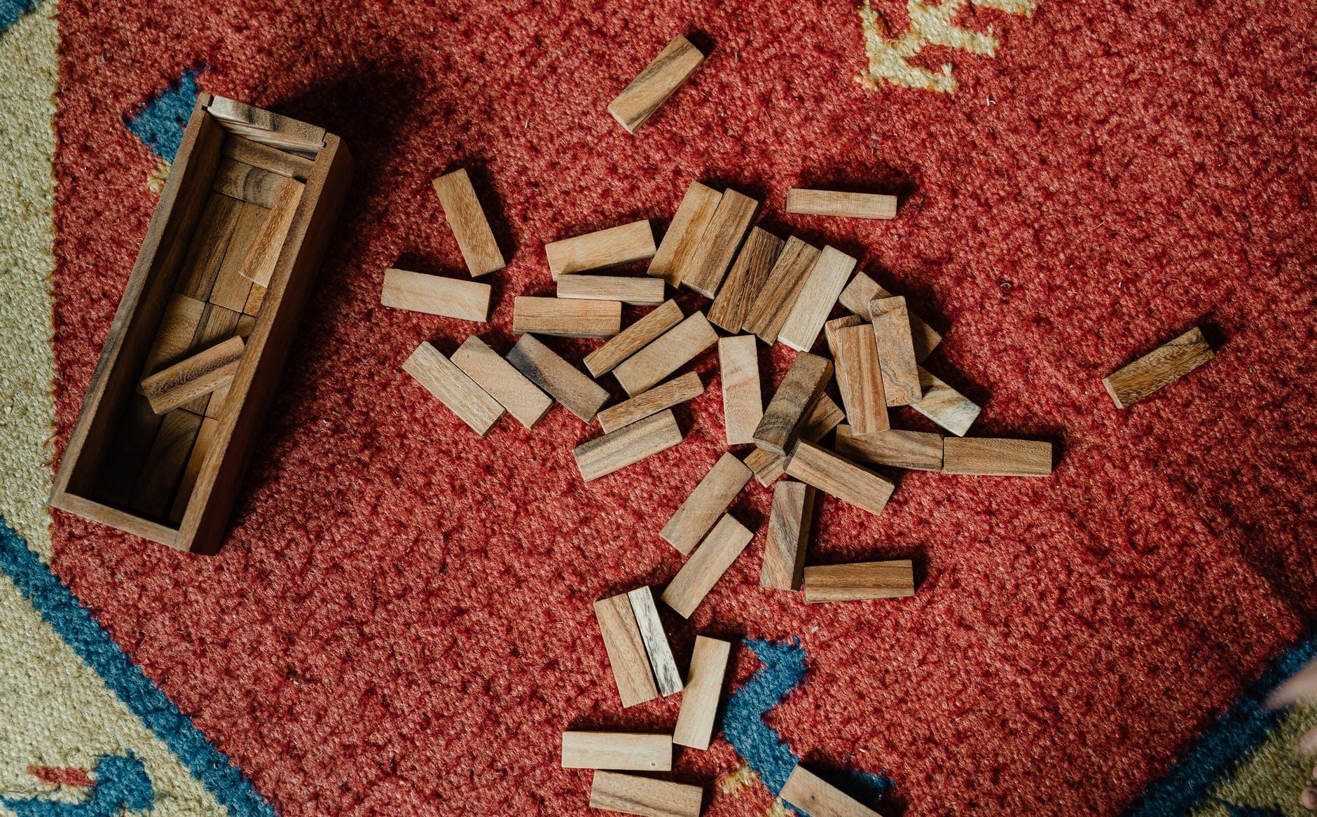 set of wooden blocks for jenga game